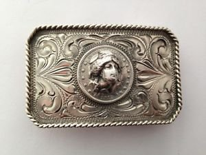 1912 Barber 3D Face/Head Coin Western Handmade Sterling Silver TRAIL BOSS Buckle