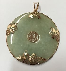 "Beautiful 14K Gold Large 2.25"" Natural Green Jade Disc w/Butterflies Spring Pend"