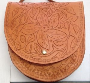 "Western Handmade Wild Flower Tool Designed Leather ] Saddle Bag 11.5"" by 12"" New"
