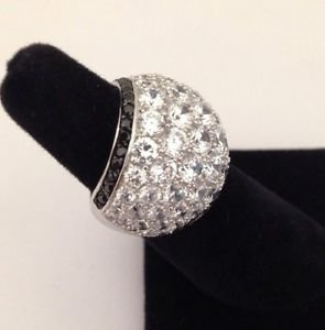 Ladies Sterling Silver 925 Crystaluxe Swarovski Pave Dome Trendy Silhouette Ring