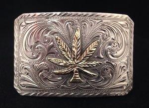 Western Handmade 14K GOLD & STERLING Silver Marijuana Leaf Trophy Buckle (JTR)