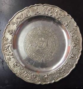 "Antique MACIEL Hand-Wrought STERLING MEXICO 11"" Tray Platter Dish Aztec Cal Uniq"