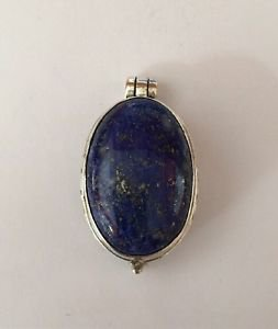 STERLING Silver 925 Handmade Pill Box Trinket Pendant Natural Lapis 30mm x 20mm