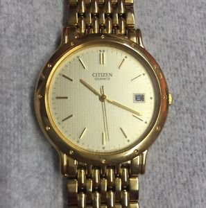 "Mens CITIZEN 5510-R10168 Watch 7.5"" Long Gold Tone Link Band Working/Runnng Exce"