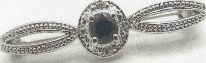 14K White Gold 0.35ct Sapphire Sl 3 & 0.05ct Diamond Sl2 H Pin Brooch GGA $980