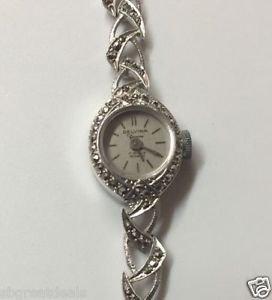 "Vintage Estate DELVINA Geneva 17 Jewels Incabloc Sterling Silver Marcasite 6.25"""