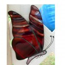 BURGANDY STAINED GLASS BUTTERFLY SUNCATCHER HANDCRAFTED