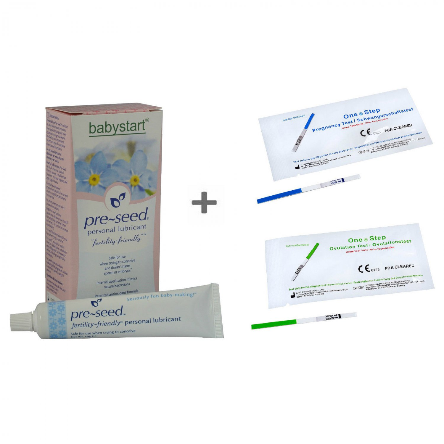 PRE-SEED Fertility Lubricant 9 Pack +5 Ovulation +5 Pregnancy Tests -Preseed Kit