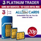 New THREE 2021 Tariff Sim Card Pay As You Go / PAYG Trio Combi 3 Network