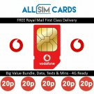 Official Vodafone Sim Card Pay As You Go PAYG / Standard Micro & Nano