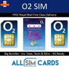O2 02 Sim Card Classic Pay As You Go 3p / 2p /1p Standard Micro Nano