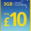 O2 Sim Card Pay As You Go £10 Bundle 3 in1 Micro Nano PAYG 2GB DATA ROLLOVER