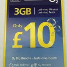 O2 Pay As You Go Sim £10 Big Bundle