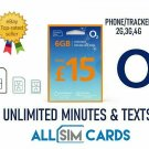 O2 Sim Card Pay As You Go £15 Bundle 3 in 1 Micro Nano PAYG 6GB ROLLOVER 02