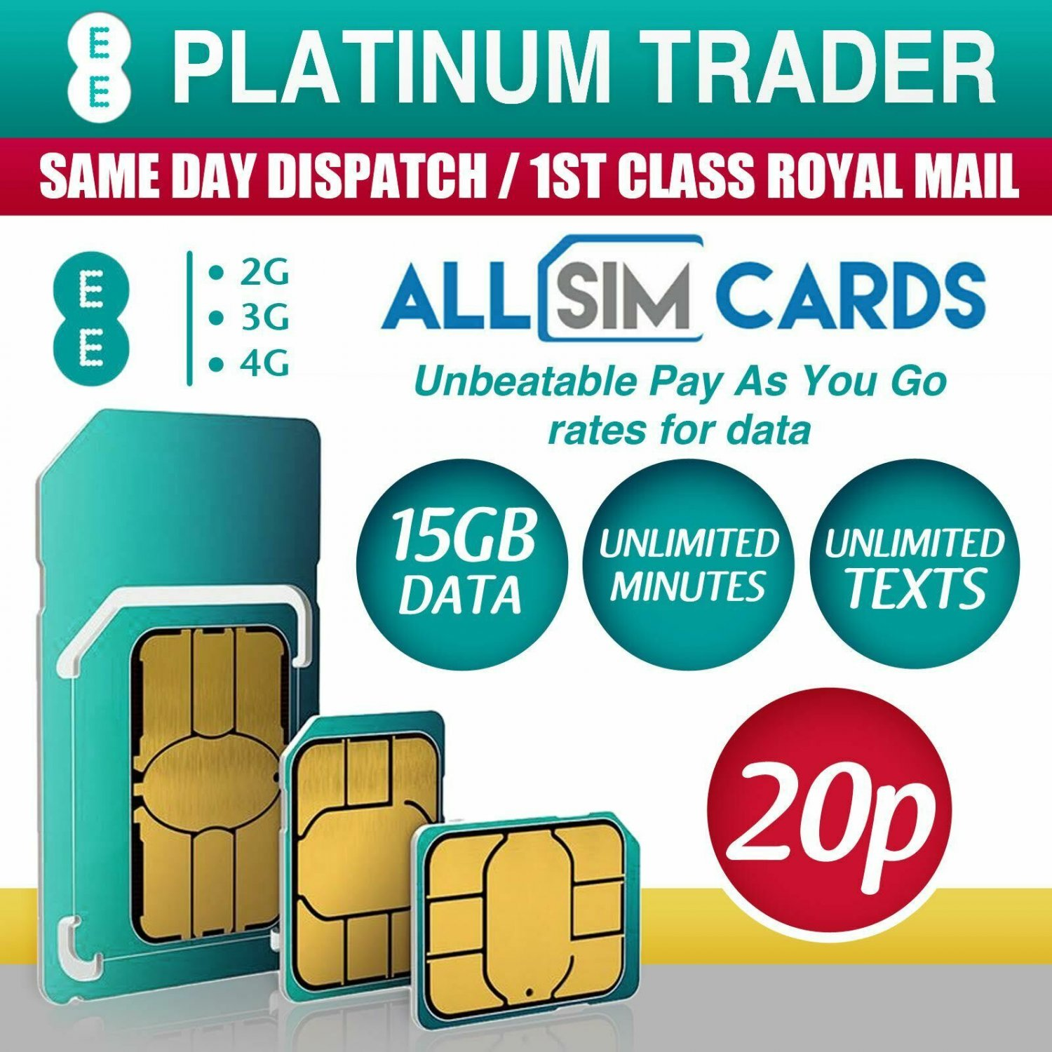 EE 4G £20 Data Pack Combi Sim PAYG 15GB Data Unlimited Texts & Mins ZERO CREDIT