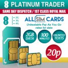 EE 4G £10 Data Pack Combi Sim PAYG 2GB Data Unlimited Texts 100 mins ZERO CREDIT