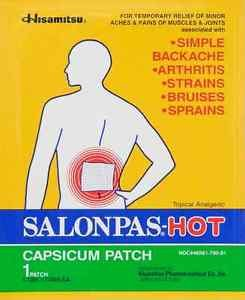 1 Patch of Hisamitsu Salonpas Hot Capsicum Patch 5.12 in x 7.09