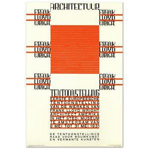 """""""Architectuur, F.L. Wright"""" Hand Pulled Lithograph by the RE Society"""