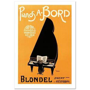 """""""Pianos A Bord"""" Hand Pulled Lithograph by the RE Society"""