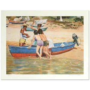 """William Nelson - """"Clam Fisherman"""" Limited Edition Serigraph, Signed"""