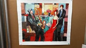 """"""" Satisfaction """" Embellished Giclee On Canvas by Jacob Chayat Signed"""