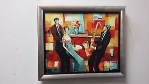 """"""" Sound Of The Sax """" Framed Embellished Giclee On Canvas by Jacob Chayat"""