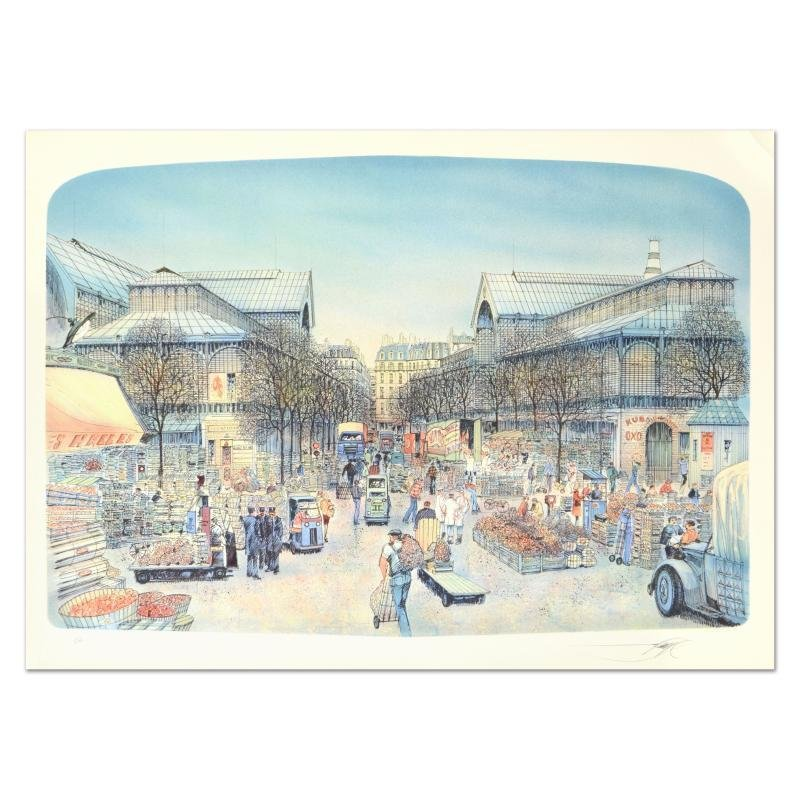 """Rolf Rafflewski - """"Les Halles"""" - Limited Edition Lithograph, Numbered and Hand S"""