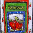 "Leslie Lew - ""Apples #4"" One-Of-A-Kind Sculpted Monotype on Canvas, Hand Signed"