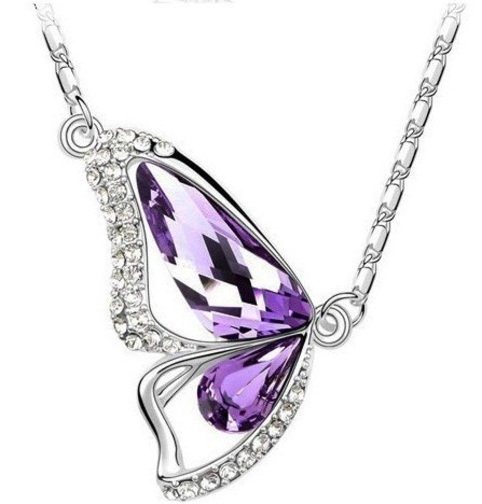 Butterfly Pendant Necklace in Purple