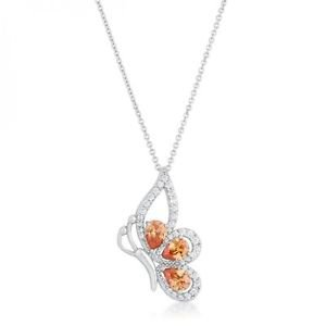 Karen 2.8ct Champagne Cz Rhoidum Butterfly Drop Necklace