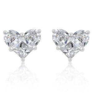 White Cz Heart Stud Earrings