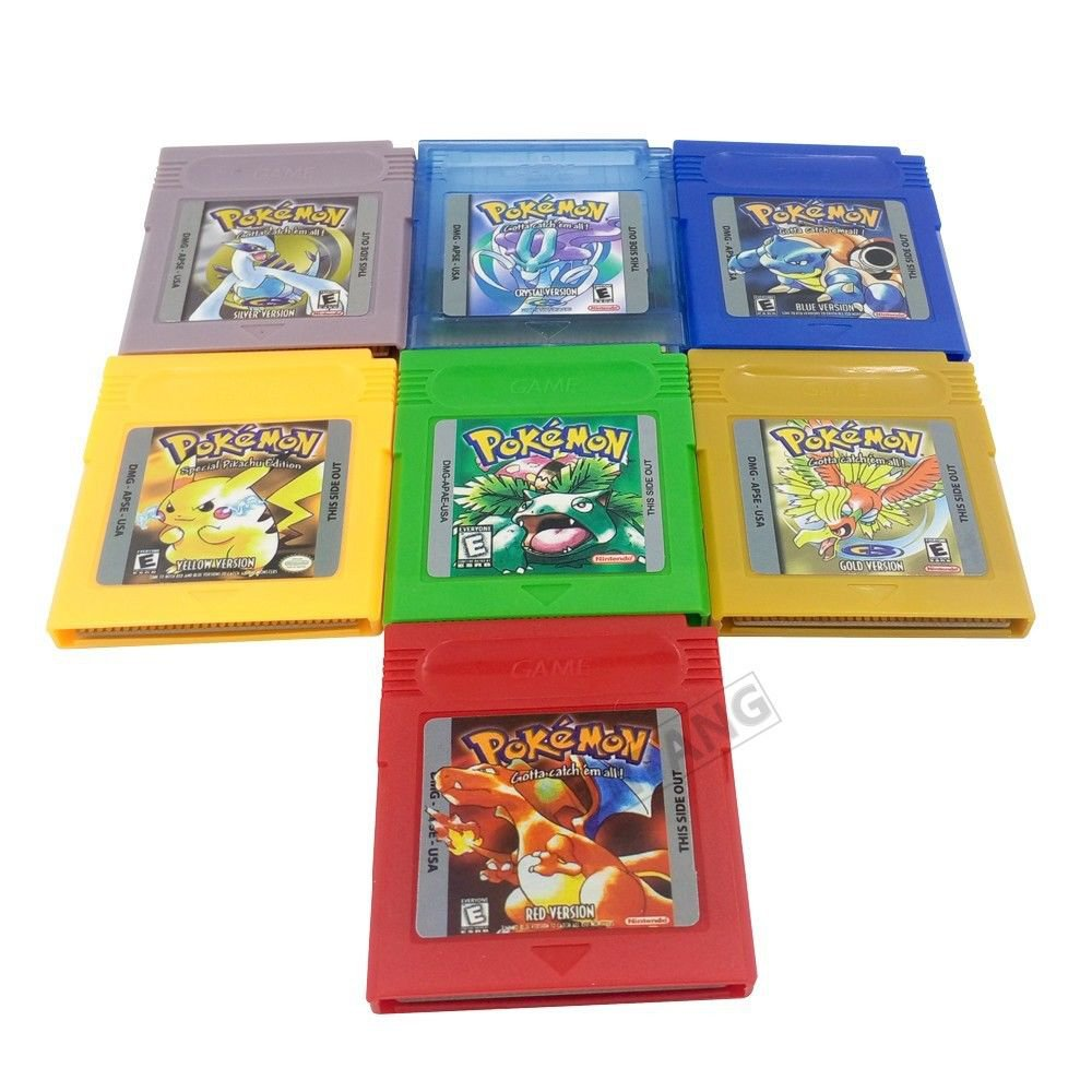 Pokemon Gameboy Color LOT, silver, gold, blue, green, red, yellow, crystal