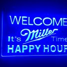 b-28 Welcome Miller Time Happy Hour Bar LED Neon Sign