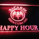 Bacardi Happy Hour Logo Beer Bar Light Sign Neon