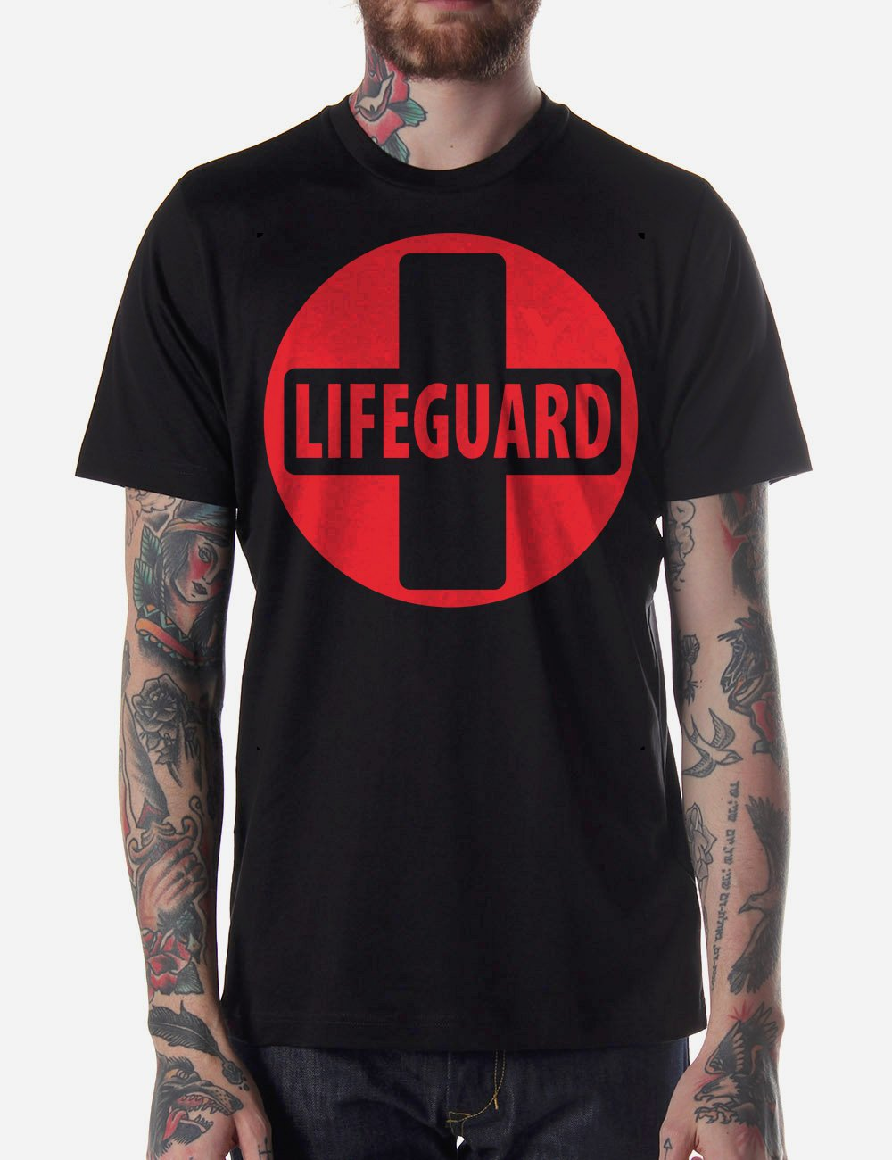 Black Men Tshirt Life Guard Design Black Tshirt For Men