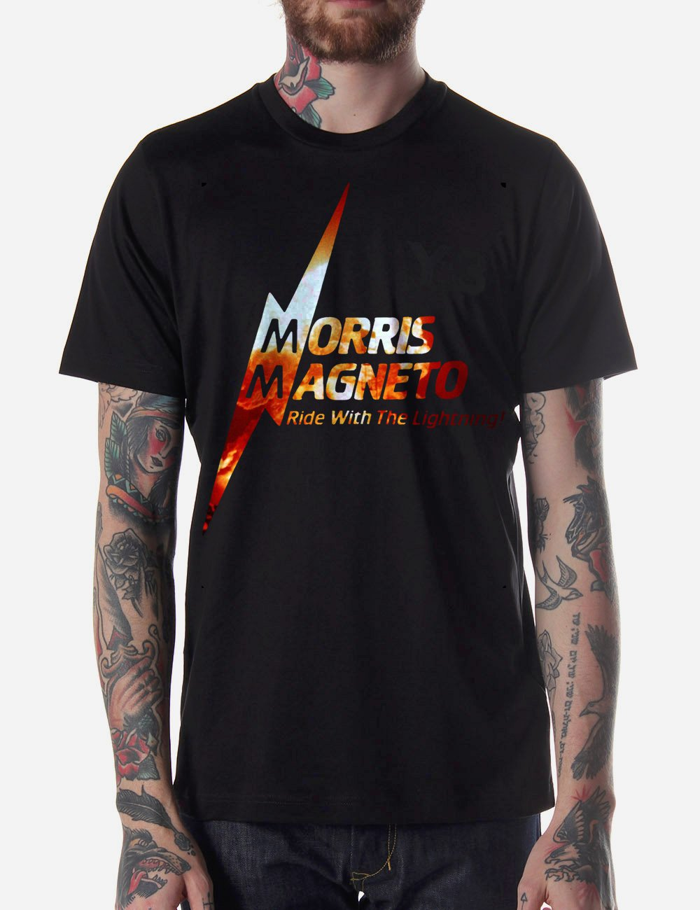 Black Men Tshirt MORRIS MAGNETOS BOLT Black Tshirt For Men