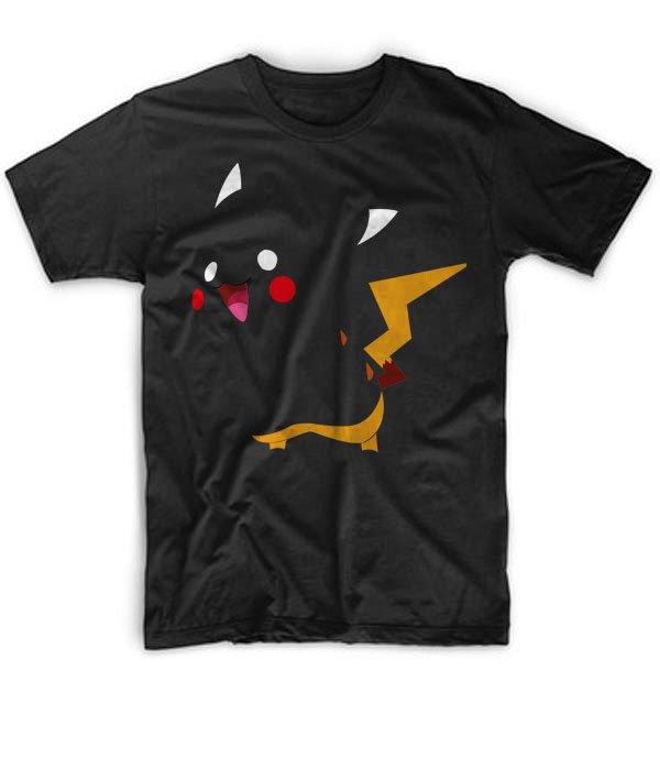 Black Men Tshirt Cartoon Pokemon Pikachu funny 3D Black Tshirt For Men