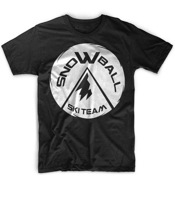 Black Men Tshirt Snowball Ski Team Black Tshirt For Men