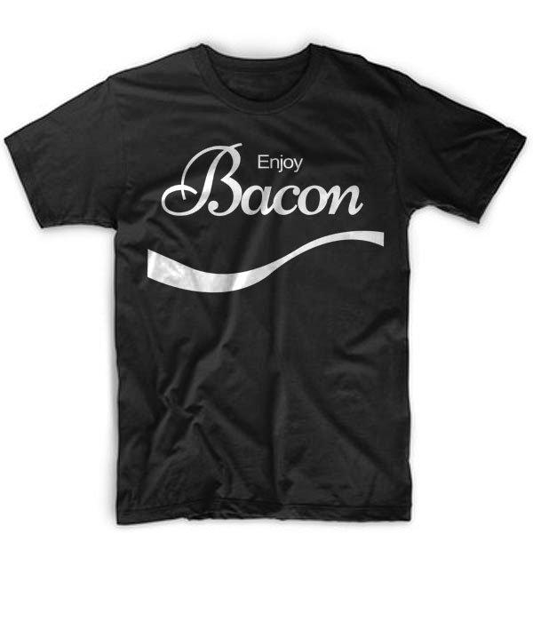 Black Men Tshirt ENJOY BACON Funny Humor Pork COKE FOOD Rude Offensive Meat Breakfast 2