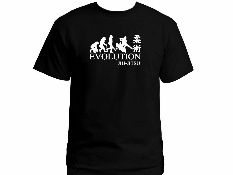 Black Men Tshirt Evolution Jiu Jitsu MMA black 100% cotton customized