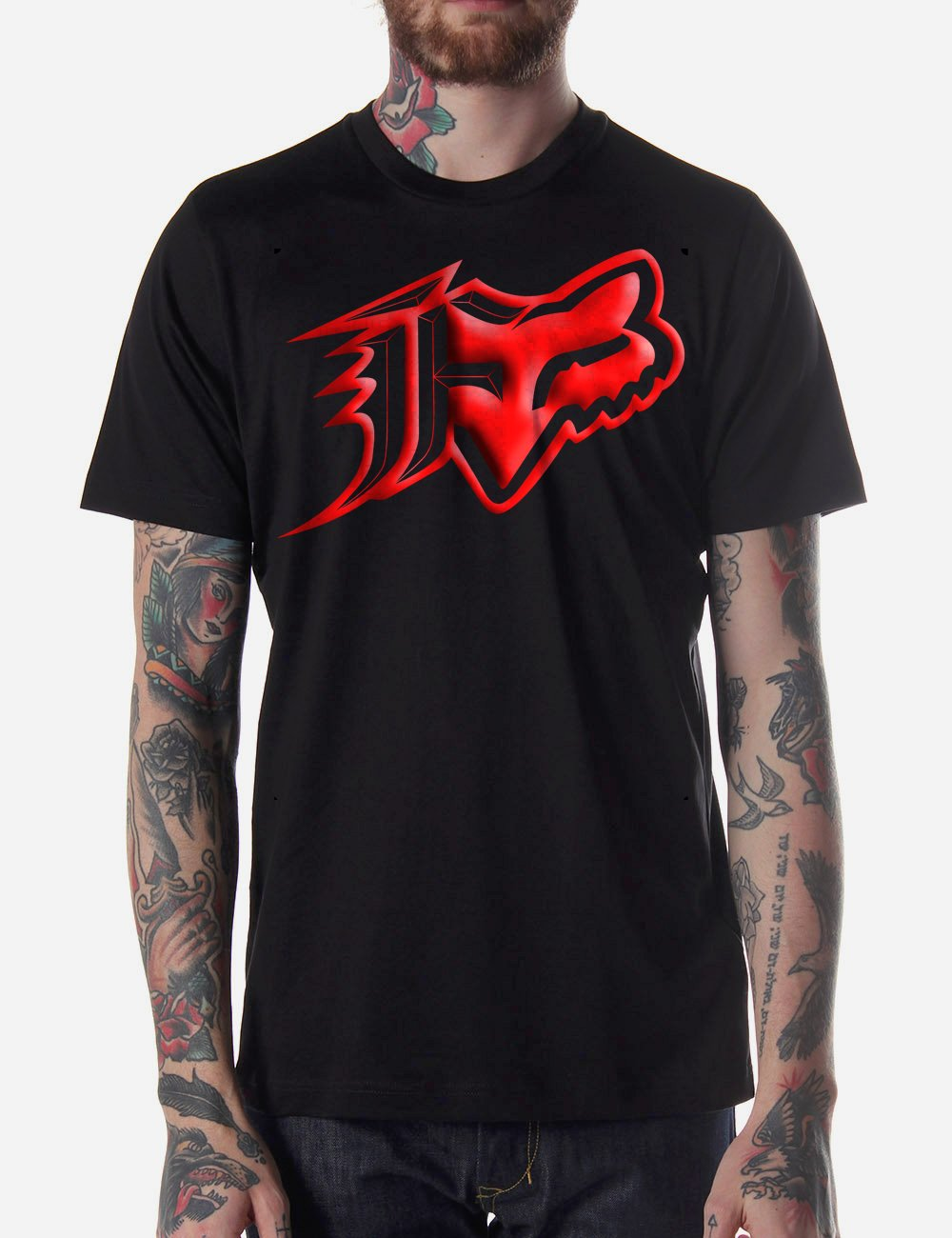 Black Men Tshirt Fox Racing Black Tshirt For Men