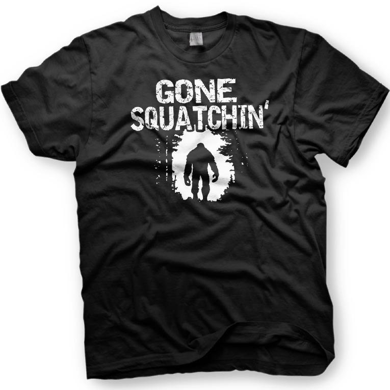 Black Men Tshirt Gone Squatchin - Big Foot Tshirt in multiple colors