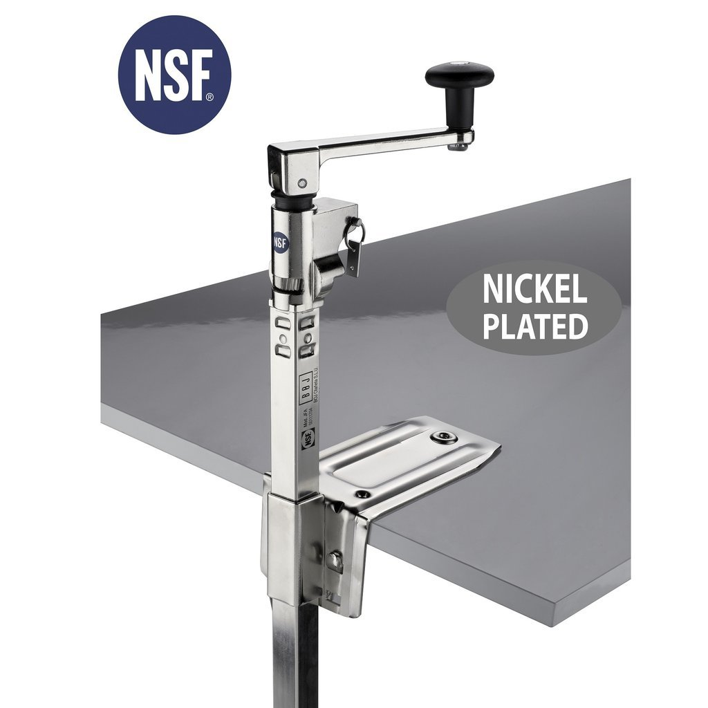 """BOJ NSF Commercial Can Opener (Nickel Plated, Table Mounted) with 20"""" Adjustable Bar and Base"""