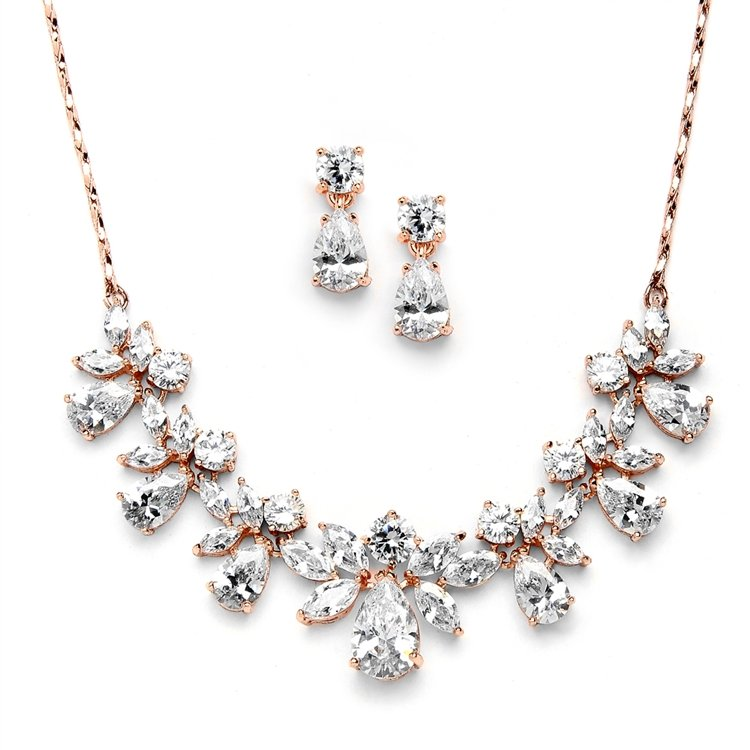 14k Rose Gold Bridal Jewelry Set
