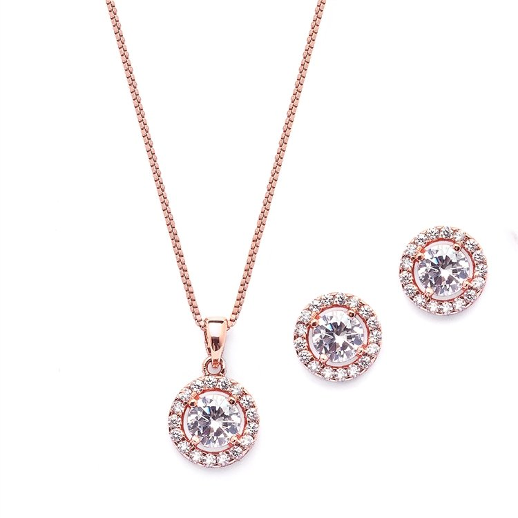 14k Rose Gold Bridal Jewelry Set