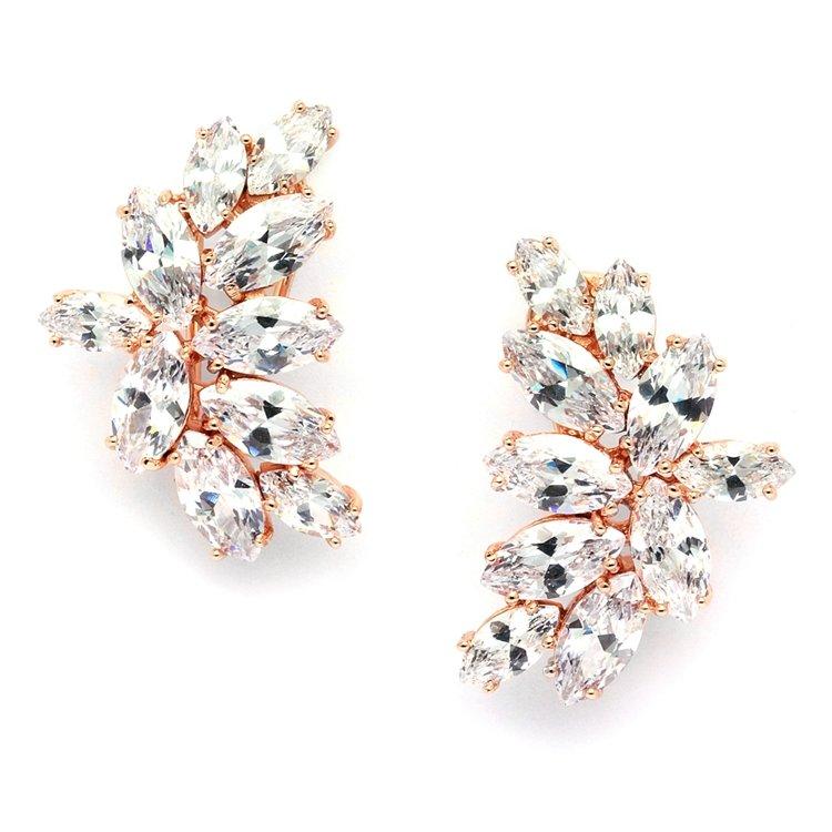 14k Rose Gold CZ Cluster Stud Earrings