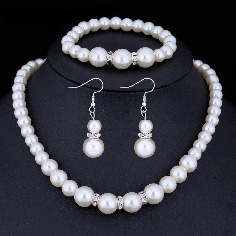 Wedding Jewelry Set �Classical Pearls� (1 necklace + 1 bracelet + 2 earrings)