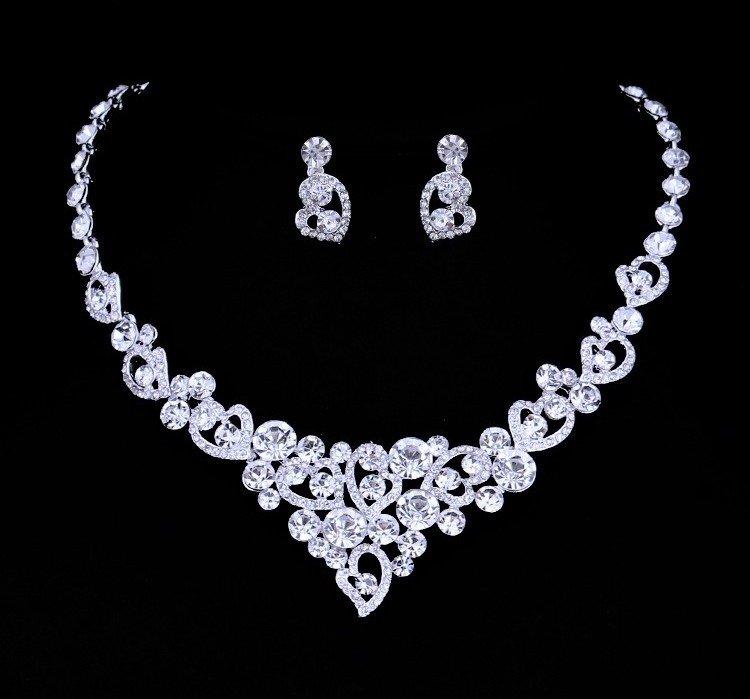 Wedding Jewelry Set �Loving hearts� (1 necklace + 2 earrings)