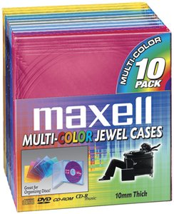 MAXELL 190072 CD/DVD Jewel Cases (10-pk 10mm Standard - Colors)