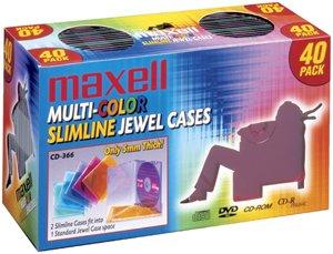 MAXELL 190076 CD/DVD Jewel Cases (40-pk Slim Colors)